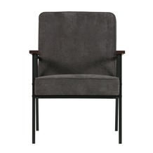 WOOOD fauteuil Sally ribcord antraciet grijs