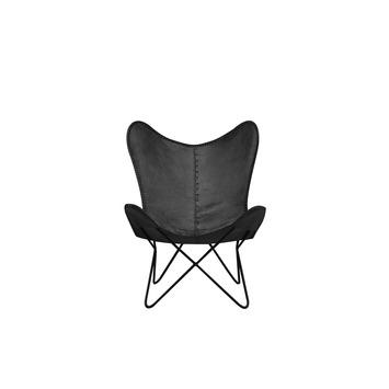 Vlinderstoel Luuk buffelleder zwart