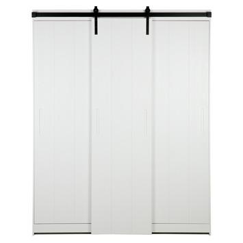 Schuifdeuren Voor Garderobekast.Woood Schuifdeur Hang Leg Garderobekast Luuk Wit Gelakt 215x170x61 Cm