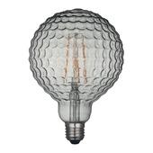 KARWEI LED-filament globe 125mm smokey geribbeld glas