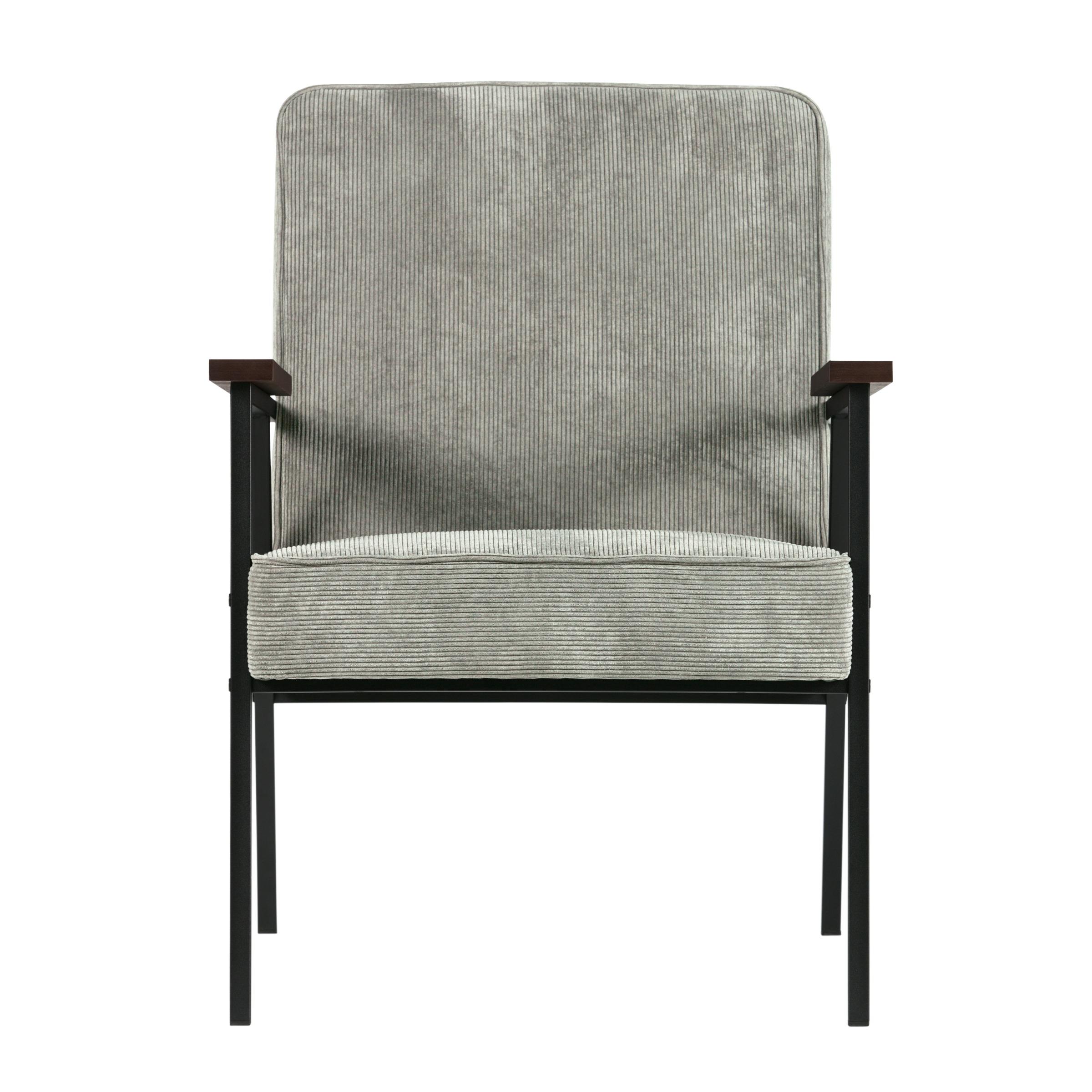WOOOD fauteuil Sally ribcord vergrijsd groen