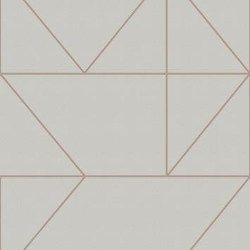 Vliesbehang geo grijs/rose goud (dessin 103004)