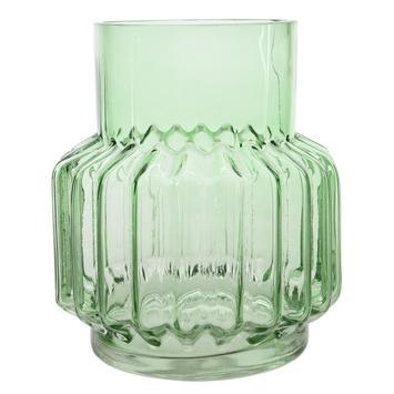 Vaas glas motief groen Ø17x20cm