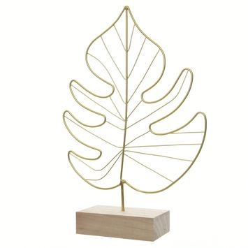 Decoratie blad ijzer houten standaard 30x20x1cm