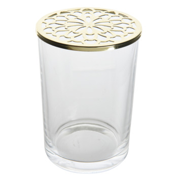 Pot glas met deksel bloem gaten Ø10x15cm