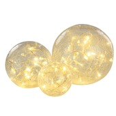 Led verlichting-ballen glas 3 per set craquelé naturel