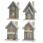 Houten huisje met led greywash 6x10x15 cm