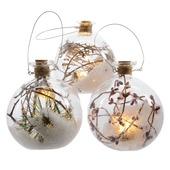 Kerstbal met led verlichting naturel10 cm