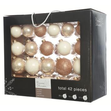 Kerstballen glas parel 42 stuks