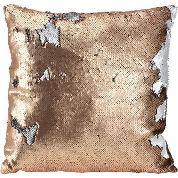 Kussen pailletten zilver/koper 45 cm