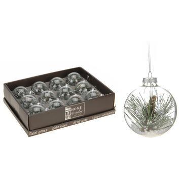 Kerstbal glas dennennaalden rond 9 cm