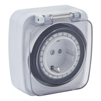 Handson tijdschakelklok analoog mini wit spatwaterdicht