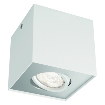 Philips opbouwspot Box wit - Incl 1X LED 4,5W WarmGlow dimbaar