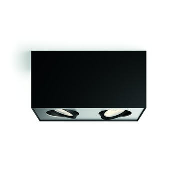 Philips duospot Box zwart - Incl 2X LED 4,5W WarmGlow dimbaar