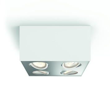 Philips opbpouwspot Box wit - Incl 4X LED 4,5W WarmGlow dimbaar