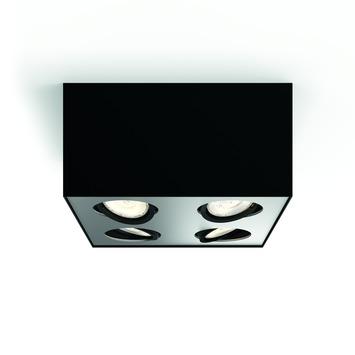 Philips opbpouwspot Box zwart - Incl 4X LED 4,5W WarmGlow dimbaar