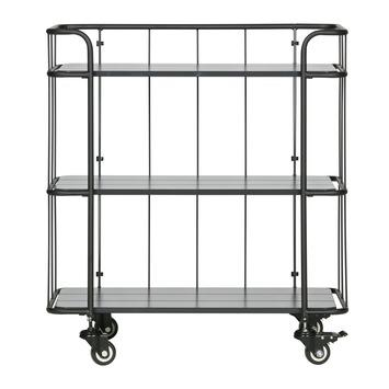 Metalen Trolley Caro Met 3 Houten Planken 84x75x42 Cm