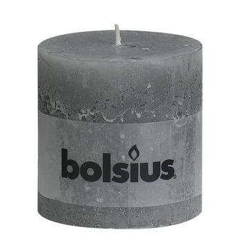 Bolsius stompkaars rustiek licht grijs 100x100