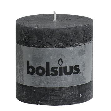 Bolsius stompkaars rustiek antraciet 100x100