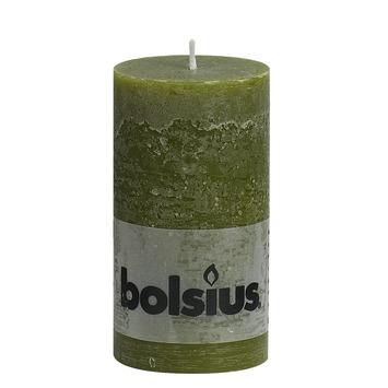 Bolsius rustiek kaars olijfgroen 19x7 cm