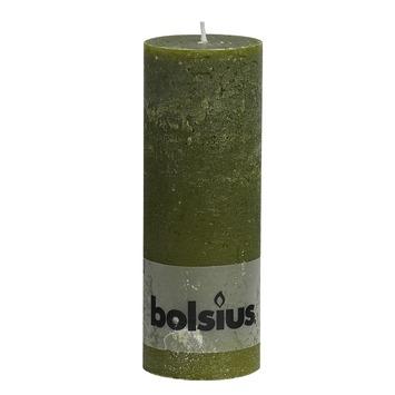 Bolsius stompkaars rustiek olijfgroen 19x7 cm