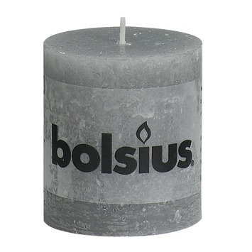 Bolsius stompkaars rustiek licht grijs 80x68