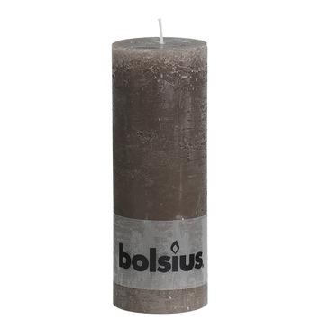 Bolsius stompkaars rustiek taupe 190x68