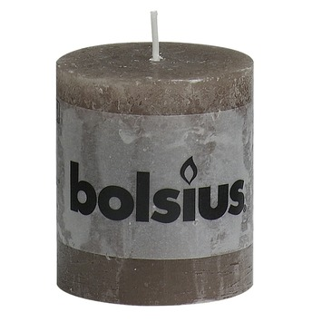 Bolsius stompkaars rustiek taupe 80x68