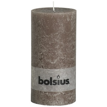 Bolsius stompkaars rustiek taupe 200x100
