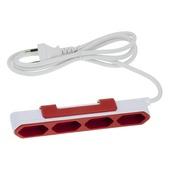 Allocacoc PowerBar stekkerdoos 4-voudig 1,5 meter wit/rood