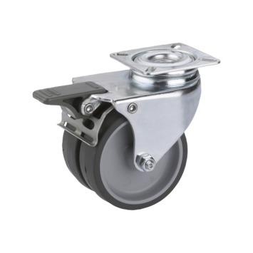 Zwenkwiel TPE met rem en plaatbevestiging Ø 50 mm max. 80 kg