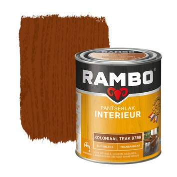 Rambo pantserlak interieur transparant zijdeglans koloniaal teak 750 ml