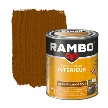 Rambo pantserlak interieur transparant zijdeglans warm walnoot 750 ml