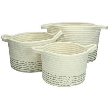 Mand basket textiel wit 16x23x23 cm