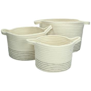 Mand basket textiel wit 18,5x27x27 cm