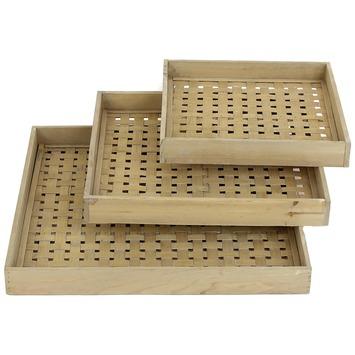 Tray bamboo naturel middel4x37x37 cm