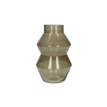 Vaas glas vorm bruin 23x15.5x15.5 cm