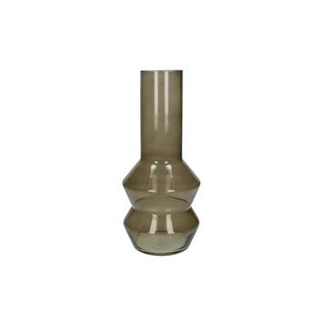Vaas glas hals bruin  29,5x12.5x12.5 cm