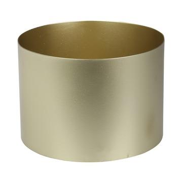 Metalen ronde bloempot goud 10,5x14x14 cm