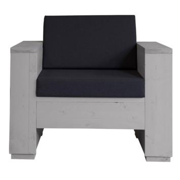 Kussenset loungestoel antraciet 1 rug- en 1 zitkussen