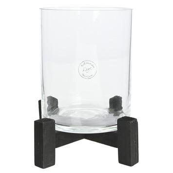 Cilinder glas vurenhouten voet 24x25x25 cm