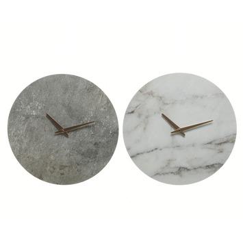 Klok mdf marmer wit of grijs 33,8x33,8x4 cm