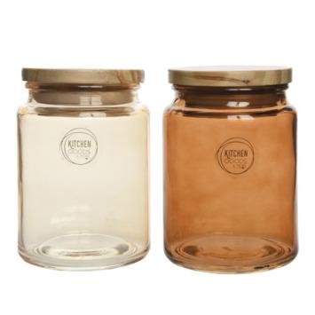 Voorraadpot glas deksel nude-bruin 14x10x10 cm