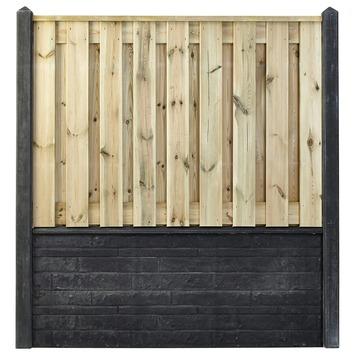 Houtbetonschutting compleet met gratis plaatsing, lengte 9 t/m 9,5 meter