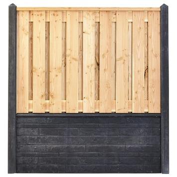 Houtbetonschutting compleet met gratis plaatsing, lengte 12 t/m 12,5 meter