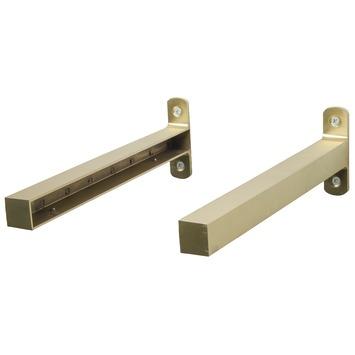Duraline industriële plankdrager modern messing 2 stuks