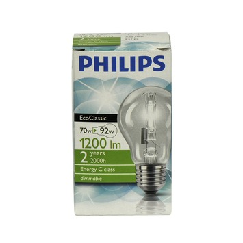 Philips EcoClassic halogeenlamp peer helder E27 70W