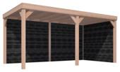 Overkapping Douglas Hout Zwart met Achterwand en Zijwand 270x522 cm