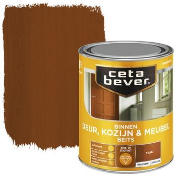 Cetabever binnenbeits deur, kozijn en meubel transparant teak zijdeglans 750 ml
