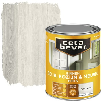 Cetabever binnenbeits deur, kozijn en meubel transparant white wash zijdeglans 750 ml